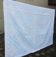 Blue white vintage quilt 40s 50s Irish by fabriquefantastique, $98.00