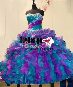 Wholesale 2017 Sweet 15 Dress Romantic Mixed Color Quinceanera Dresses Ball Gown Organza Long Woman Prom dress