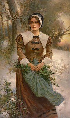 Free Thanksgiving Clip Art - Pilgrim Woman - The Graphics Fairy