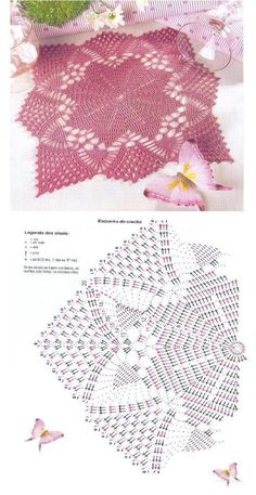 Crochet Patterns Lace Crochet and Two needles - Fabric patterns Crochet Doily Diagram, Crochet Lace Edging, Crochet Doily Patterns, Crochet Chart, Crochet Squares, Thread Crochet, Crochet Designs, Crochet Stitches, Fabric Patterns