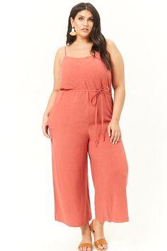 Plus Size Linen-Blend Cami Jumpsuit Plus Jumpsuit, Plus Size Romper, Going Out Outfits, Trendy Plus Size, Jumpsuits For Women, Plus Size Fashion, Cami, Latest Trends, Fashion Dresses