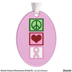 Breast Cancer Awareness Pretty Pink Christmas Ornament on a white ribbon.