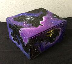 Galaxy Box outerspace pink / purple nebula stars nighty jewelry box / storage wood various sizes custom art blue clouds – Galaxy Art Wooden Box Crafts, Painted Wooden Boxes, Painted Jewelry Boxes, Hand Painted, Galaxy Painting, Galaxy Art, Diy Painting, Pink Galaxy, Pink Lila