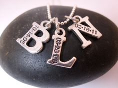 Mommy necklace THREE letters Hand stamped jewelry by underhercharm, $80.00