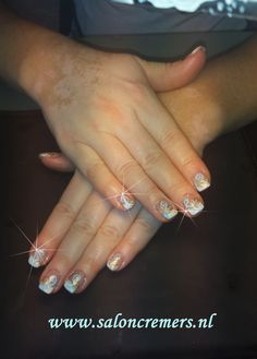 French manicure with a flower twist this picture isn't clear