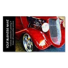 automotive red classic car auto painting biz business card template make your own business card