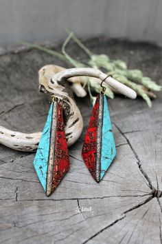 Turquoise and red earrings polymer clay earrings by Lelandjewelry
