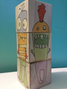 Monster Blocks by Baylie Peplow, Red Umbrella Design Projects For Kids, Diy For Kids, Crafts For Kids, Arts And Crafts, Umbrella Painting, Red Umbrella, Wooden Crafts, Wood Toys, Diy Toys