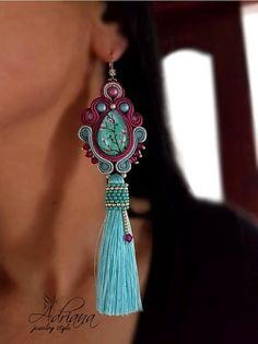Turquoise tassels soutache earrings by Adriana