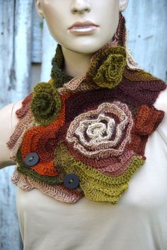 Crochet scarf Scarf and mittens Capelet Neck Warmer Brown Green Orange Chunky Knit Freeform Crochet one of a kind Textured scarf Gift Roses