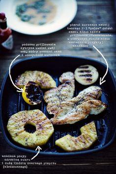 Sałatak z grillowanym kurczakiem i ananasem, z sosem tabasco