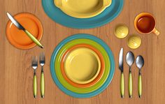 Fiesta Dinnerware Colorama. Click here to create your own color combinations, right from your computer! This one features Turquoise, Lemongrass, Tangerine, and Sunflower.