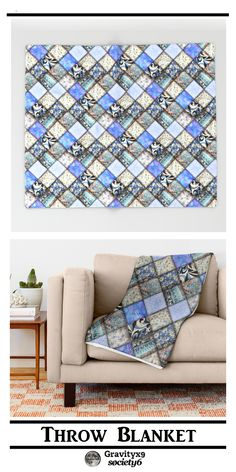 Faux Patchwork Quilting - Blues Throw Blanket by #Gravityx9   #Society6  - Images of Four to six different fabric patterns, put together with a quilted texture can add a coziness to this item.  #homedesign #homedecorideas  #bedroomdecor #bedroom #blankets #patchwork