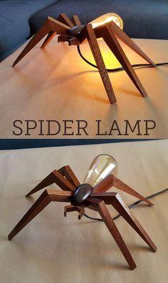 Mahogany and Edison bulb spider shaped lamp. #WoodworkingTips