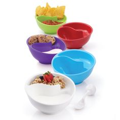 Obol®, the Never-Soggy Cereal Bowl with SpoonIt®. $19.00. Can also use it to separate chips and dips,etc.