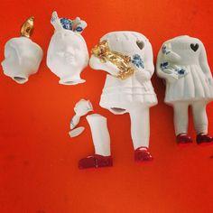 Broken porcelain Clonette dolls, Lammers en Lammers :(