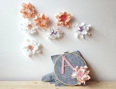 Felt flower backdrop  floral nursery floral backdrop by mellsva