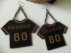 Leather New Orleans Saints Jimmy Graham Jersey Earrings With Bling