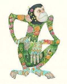 News / Work in progress / Mythology - The DM Collection New World Monkey, Year Of The Monkey, World Mythology, Chinese Mythology, Buddhist Texts, Big Kiss, Collage, How To Show Love, Japanese Prints