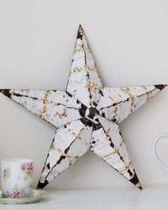 Amish tin barn star - Handmade primitive rustic tin star in white - Christmas decor
