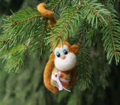 Monkey with gift box   Christmas tree decoration Zodiac by vilnone