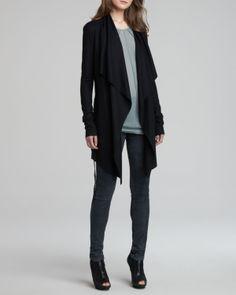 Helmut Lang Long Open Cascade Cardigan & Patina Stretch Leather Legging - Neiman Marcus