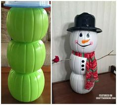 How to make this snowman decoration out of plastic pumpkins for Christmas decorations for your home or your front porch. Snowman Crafts, Christmas Projects, Holiday Crafts, Christmas Trends, Easy Crafts For Christmas, Holiday Ideas, Fall Crafts, Holiday Decor, Decoration Christmas