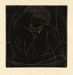 Eric Gill 'Girl in Bath: I', 1922 | Wood engraving on paper, 105 x 105 mm | Tate