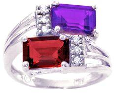 14K White Gold Two-Row Octagon Amethyst-Garnet Gemstone and Diamond Ring