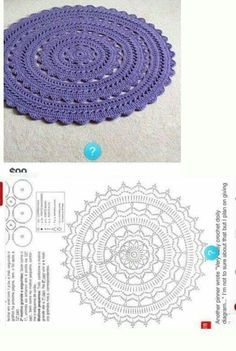 Crochet Mandala Crochet Motif Crochet Hats Crochet Patterns Rugs On Carpet Carpets Beach Mat Doilies Kids Rugs Crochet Doily Rug, Crochet Placemats, Crochet Carpet, Crochet Mandala Pattern, Crochet Circles, Crochet Diagram, Doily Patterns, Crochet Patterns, Tutorial Crochet