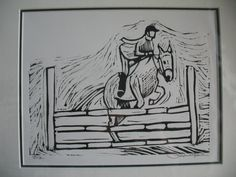 Horse Jumping Show & Rider  Limited edition linocut by TheArtTree, $125.00