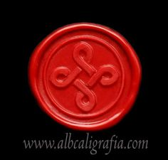 Red sealing wax medallion stamped with braided cross