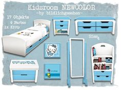 Kidsroom Newcolor by Akisima Sims Sims 4 Mm, My Sims, Sims 4 Beds, Sims 4 Clutter, Sims 4 Houses, Sims 4 Update, Sims 4 Custom Content, Kidsroom, Random Stuff