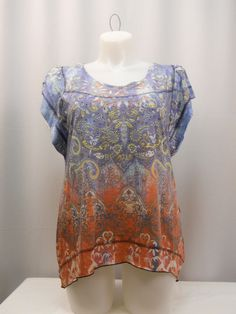 Style & Co Womens Top Plus Size 0X Jeweled Paisley Batwing Sleeves Asymmetrical  #Styleco #Blouse #Clubwear