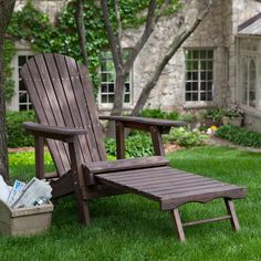 Coral Coast Big Daddy Reclining Adirondack Chair With Pull Out Ottoman- Dark…
