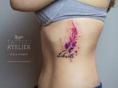 Pluma y Frase: Liberté en Acuarelas by Julia Dumps - Tatuajes para Mujeres. Encuentra esta muchas ideas mas de Tattoos. Miles de imágenes y fotos día a día. Seguinos en Facebook.com/TatuajesParaMujeres!