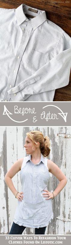 DIY Men's Dress Shirt Apron Creative Idea Trendsgator.com | Trendsgator.com