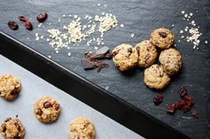 Delicious oatmeal cookies with dark chocolate and cranberries