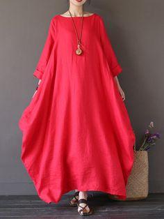 L-5XL Women Loose Pure Color Baggy Maxi Dress at Banggood