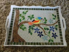 m Mosaic Tray, Mosaic Glass, Stained Glass, Mosaic Birds, Mosaic Flowers, Mosaic Patterns, Mosaic Ideas, Cake Dome, Mosaic Stepping Stones