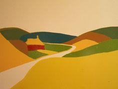 Huisje in duinlandschap - linosnede, 40x30cm - els de natris