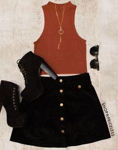 Black skirt + Crop top