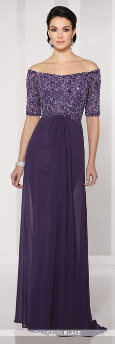 Cameron Blake - 216687 - Off-the-shoulder chiffon A-line gown with hand-beaded illusion elbow-length sleeves, bodice encrusted with beading, curved waistline, center front gathered skirt with sweep train.Sizes: 4 - 20Colors: Grape, Champagne, Gray