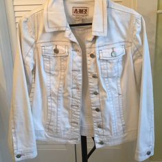 White Denim Jacket White denim with contrast stitching and elastic shaper bands in the waist to add a feminine touch. AMI Jackets & Coats Jean Jackets