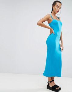 ASOS City Maxi Double Strap Bodycon Dress - Blue