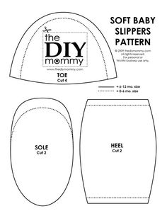 Free Printable Sewing Patterns | Download & print our PDF pattern: The DIY Mommy – Soft Baby Slippers