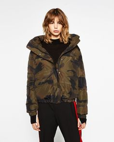 Short stepped jacket with camouflage print @zaraofficial