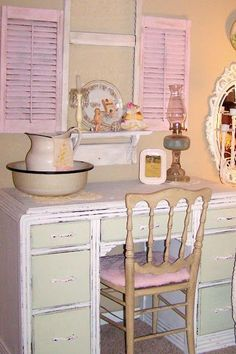 pink shutters with green and white shabby chic dresser