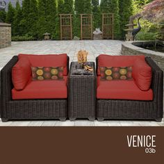 TKC Venice 3 Piece Outdoor Wicker Furniture Conversation Set 03b, Terracotta