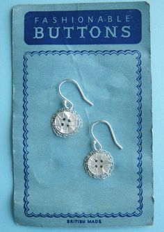 Vintage button earrings, mother of pearl and silver by Judith Brown Jewellery